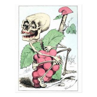 Postal esquelética del vintage del ladrón de la uv
