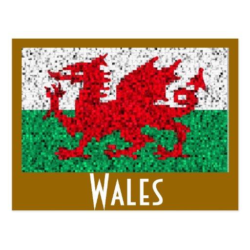 Postal estilizada de la bandera de Cymru País de G