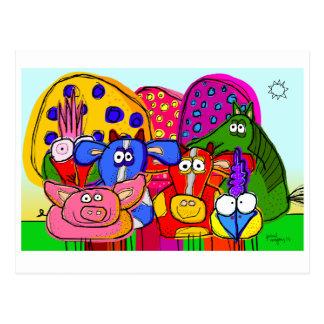 """postal estupenda de los """"animales y de los árboles"""
