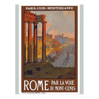 Postal europea antigua del francés del viaje de