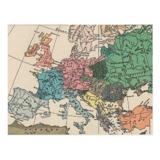 Postal europea del mapa del viaje del vintage