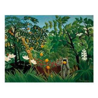 Postal exótica del paisaje de Henri Rousseau