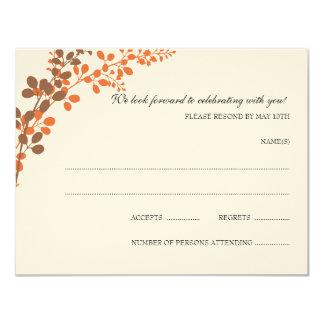 Postal exquisita de RSVP de las vides (bronce y Invitacion Personalizada