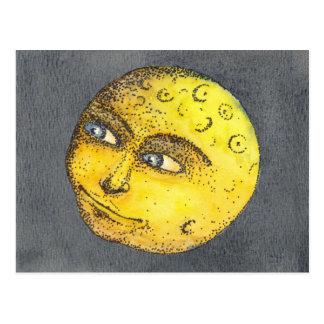 Postal feliz amarilla de la cara de luna