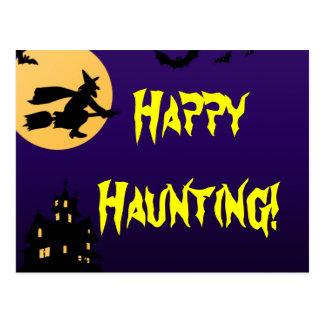 Postal feliz de la casa encantada de Halloween que