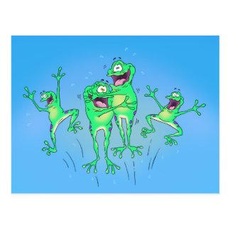 Postal feliz de las ranas