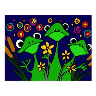 Postal feliz del arte popular de las ranas AW