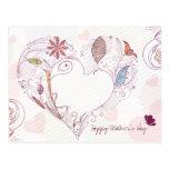 Postal feliz del día de madre del corazón floral a