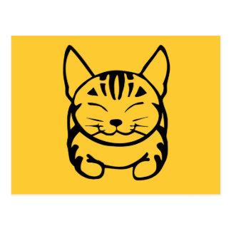 Postal feliz del gato (negro en amarillo)