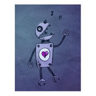 Postal feliz del robot del canto