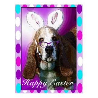 Postal feliz del saludo de Basset Hound Pascua