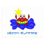 postal feliz del verano del cangrejo
