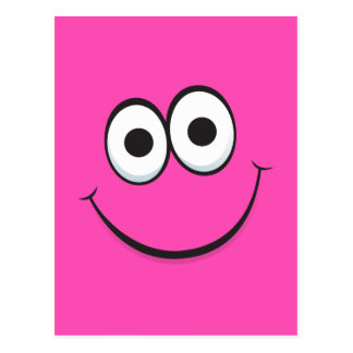 Postal feliz divertida de la cara del dibujo anima