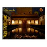 Postal Feliz Navidad paisaje Alhambra