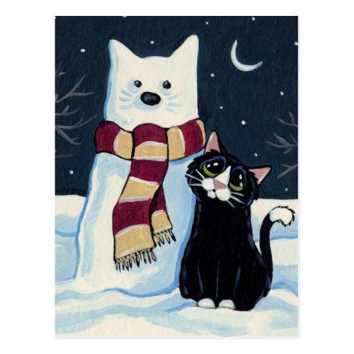 Postal festiva del gato y del gato de la nieve