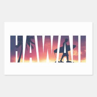 Postal filtrada vintage de Hawaii Pegatina Rectangular