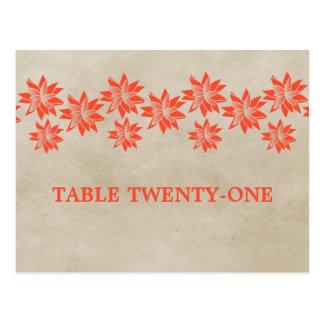 Postal floral anaranjada del número de la tabla de