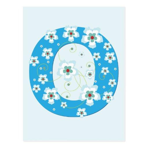Postal floral azul bonita inicial del monograma O