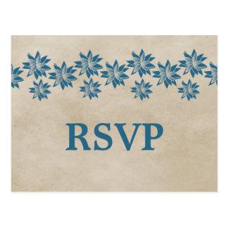 Postal floral azul de RSVP del vintage