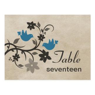 Postal floral azul del número de la tabla de los L