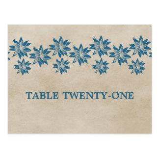 Postal floral azul del número de la tabla del vint