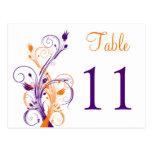 Postal floral blanca anaranjada púrpura del número