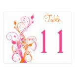 Postal floral blanca rosada anaranjada del número