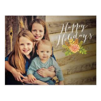 Postal floral de la foto del navidad buenas