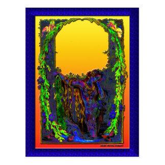 Postal floral de la salida del sol de la sirena