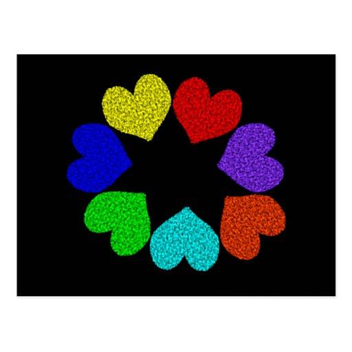 Postal floral de los corazones del amor del arco