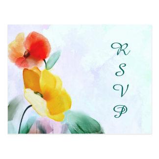 Postal floral de RSVP de la acuarela