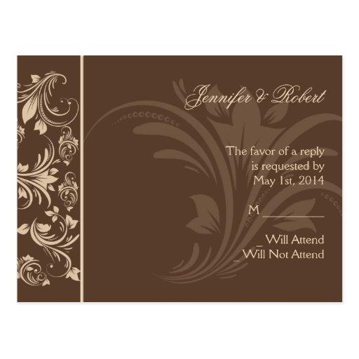 Postal floral de RSVP de la voluta del chocolate y