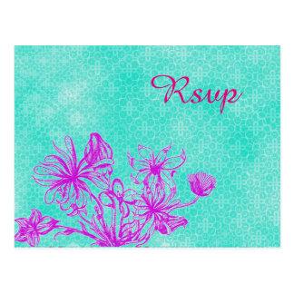 Postal floral de RSVP del vintage que se casa
