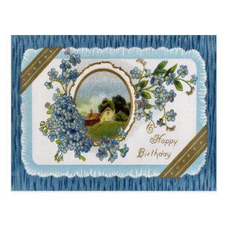 Postal floral del cumpleaños del Victorian del