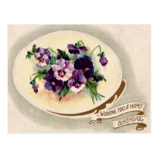 Postal floral del cumpleaños del Victorian del vin