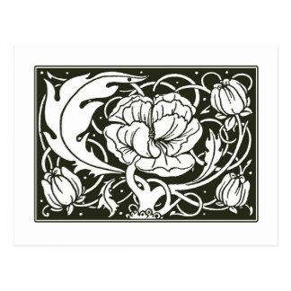 Postal floral del ejemplo de Nouveau del arte