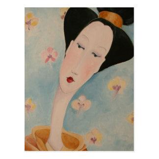 Postal floral del geisha