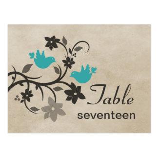 Postal floral del número de la tabla de los Lovebi