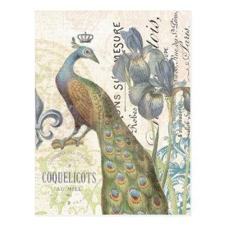 Postal floral del pavo real francés del vintage