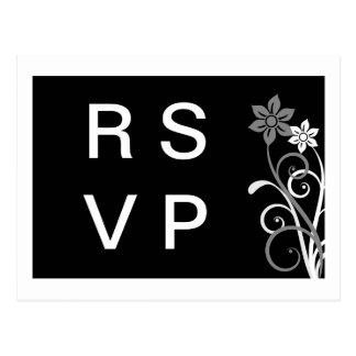 Postal floral dramática de RSVP de los remolinos