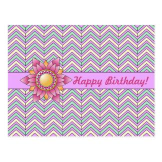 Postal floral en colores pastel del cumpleaños de