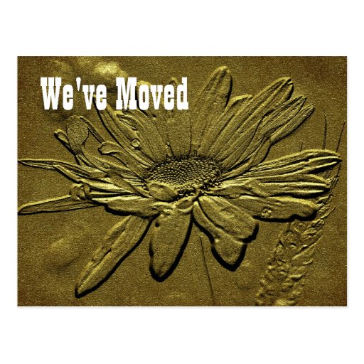 Postal floral esculpida de la nueva dirección de l