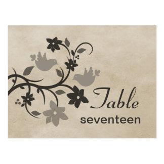 Postal floral gris del número de la tabla de los L