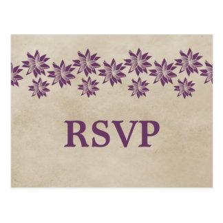 Postal floral púrpura de RSVP del vintage