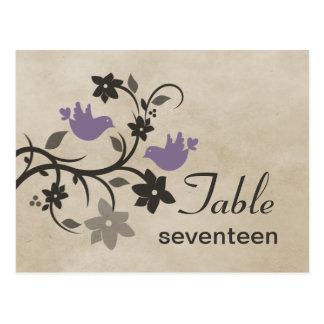 Postal floral púrpura del número de la tabla de lo