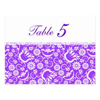 Postal floral púrpura del número de la tabla del v