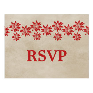 Postal floral roja de RSVP del vintage