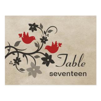 Postal floral roja del número de la tabla de los L
