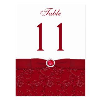 Postal floral roja y blanca de rubíes del número d