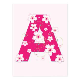 Postal floral rosada bonita de la inicial A del mo